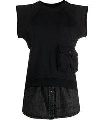 diesel hybrid denim layer sweatshirt - black