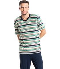 pijama masculino longo com manga curta listrado luiz