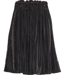 moose velvet knälång kjol svart line of oslo