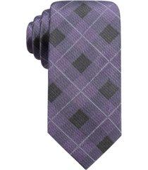 ryan seacrest distinction men's clemson slim plaid silk tie, created for macy's