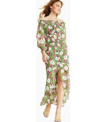 bar iii floral-print off-the-shoulder smocked top, created for macy's
