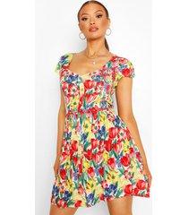 floral shirred detail skater dress, multi