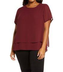 plus size women's michael michael kors split back tiered top, size 1x - red