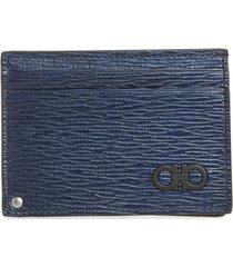 men's salvatore ferragamo revival leather id card case -