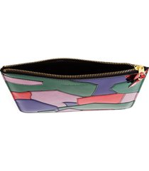 comme des garçons wallet patchwork patent leather pouch - multicolour