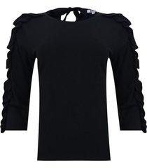 camiseta con ruches en mangas color negro, talla 10