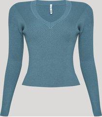blusa feminina em tricô básica manga longa decote redondo azul claro