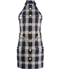 balmain chain-detail tweed dress - blue