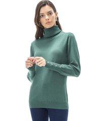sweater cuello alto mujer verde corona