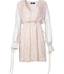 neutral floral plunge silk dress