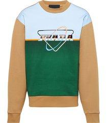 prada logo print sweatshirt - neutrals