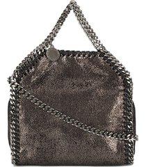 stella mccartney mini metallic pewter falabella shoulder bag - black