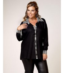 camisa negra lecol talles reales paula plus size