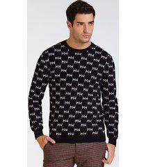 żakardowy sweter marciano z logo