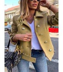 abrigo de manga larga con cuello de solapa color caqui