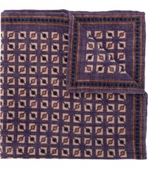 brunello cucinelli geometric-print square scarf - purple