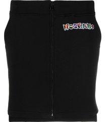 moschino embroidered logo zip-up skirt - black