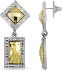 2028 silver- tone gold-tone stone double drop square earrings
