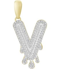 men's diamond (1/3 ct.t.w.) dripping initial pendant in 10k yellow gold