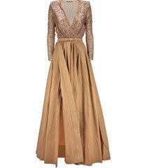elisabetta franchi red carpet outfit with sequin bodysuit and taffeta skirt