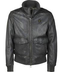 blauer ribbed biker jacket