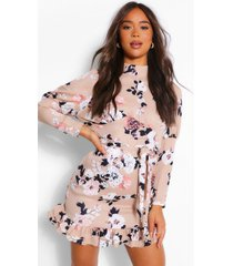 bloemenprint mini jurk met hoge kraag en pofmouwen, nude