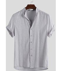 hombres ropa de manga corta camisa verano playa top informal suelto