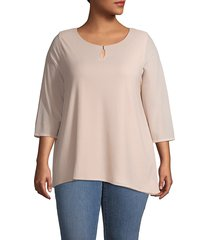 calvin klein women's plus waffle-knit three-quarter top - blush - size 1x (14-16)