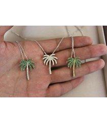 "0.50 ctw multi-stone 925 silver hawaiian palm beach tree pendant with 18"" chain"