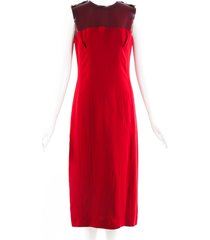 burberry prorsum red silk crepe pvc sleeveless dress red sz: m