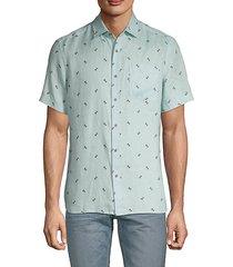 palm-print short-sleeve linen shirt