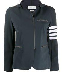 thom browne 4-bar tech compression zip-up jacket - grey