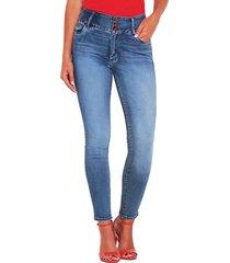 jeans wados pitillo pretina alta 3 botones azul - calce ajustado