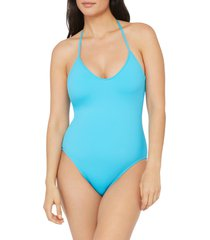 women's la blanca halter one-piece swimsuit, size 14 - blue