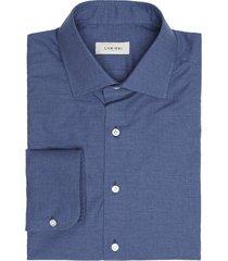 camicia da uomo su misura, canclini, flanella twill blu, autunno inverno | lanieri