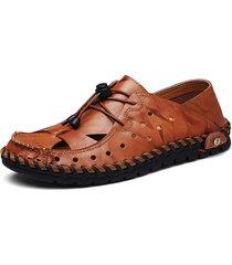sandali stringati in pelle vera traforata con cucito