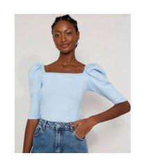 blusa de tricô manga bufante decote reto azul claro