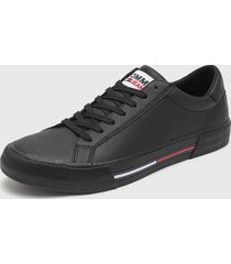 zapatilla urbana essential leather sneaker negro tommy hilfiger