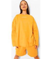 oversized shirt met tekst en lange mouwen, mustard