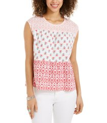 style & co petite cotton tiered top, created for macy's