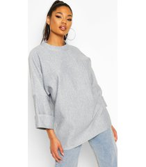 oversized slouch pocket top in jumbo jersey, light grey