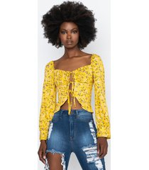 akira summer chills floral crop blouse