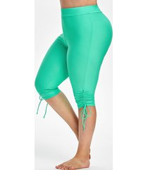 plus size cinched cropped swimwear pants