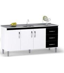 balcão gabinete de pia 160cm 3 portas 3 gavetas isabel branco/preto - ajl móveis