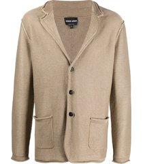 giorgio armani fine knit blazer - neutrals