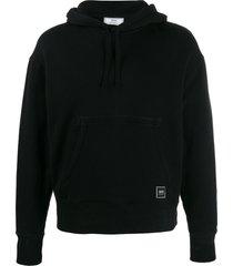 ami bi-material hooded sweater - black