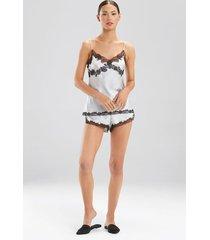 lolita lace cami pajamas, women's, grey, 100% silk, size l, josie natori