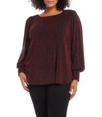 plus size women's karen kane blouson sleeve top, size 2x - burgundy