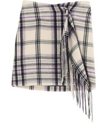msgm checkered mini skirt with fringes