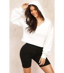 mix & match v neck hooded crop sweater, ecru